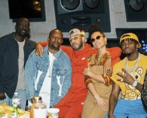 From the Left: Bu, Babu Tale, Swizz Beatz, Alicia Keys and Diamond Platnumz in studio
