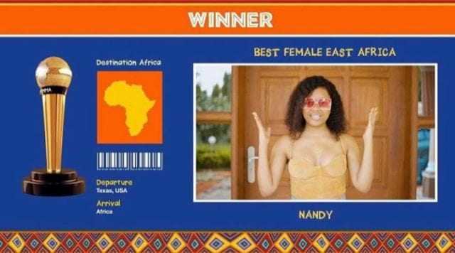 Nandy: Winner Best Female Artist East Africa