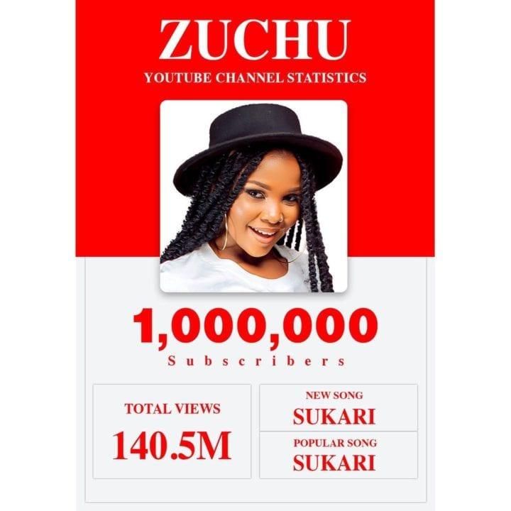 Zuchu Hits 1 Million Youtube Subscribers
