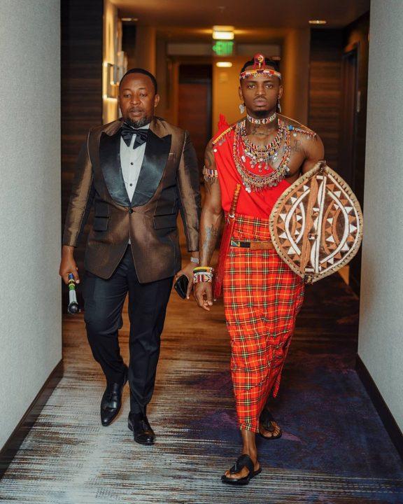 Diamond Platnumz with his manager Babu Tale