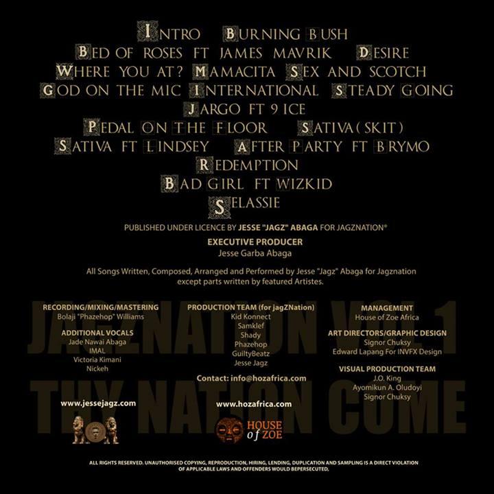 Jesse Jagz JagzNation Album Tracklist