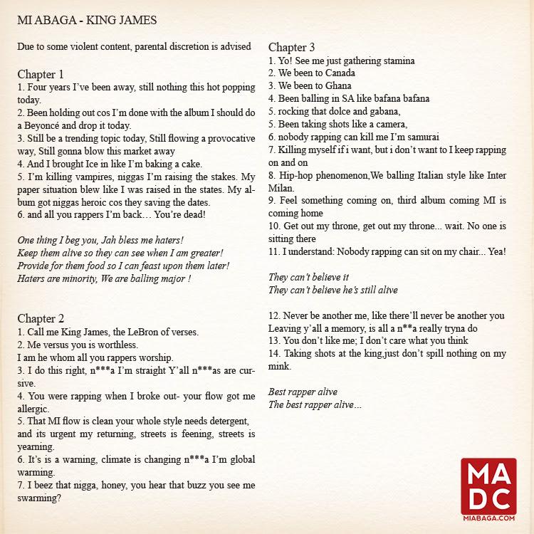 M.I King James Lyrics
