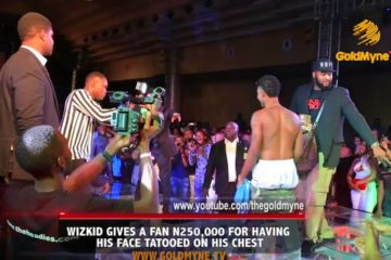 Wizkid Gives a Fan N250K for Having His Face Tatooed On His Chest