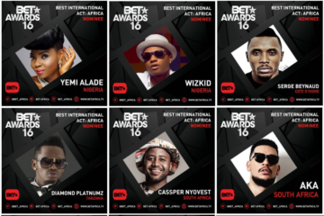 Wizkid, Yemi Alade, AKA, Cassper, Diamond Nominated For Best Int'l Act @ BET Awards 2016