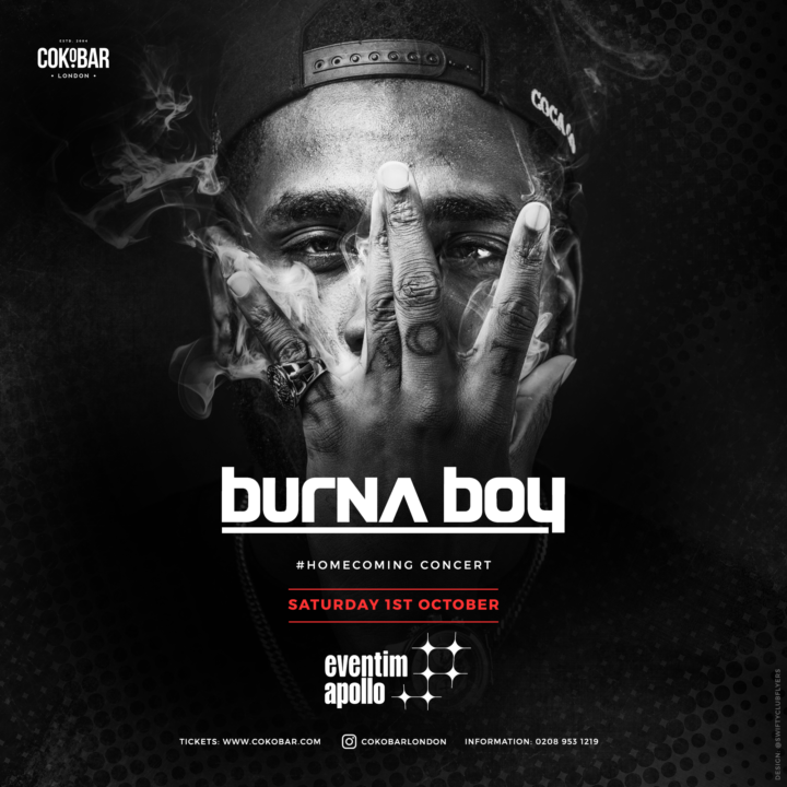 Win Tickets to see Burna Boy @ the #BurnaboyHomecoming Concert in London on October 1st (Week 6)
