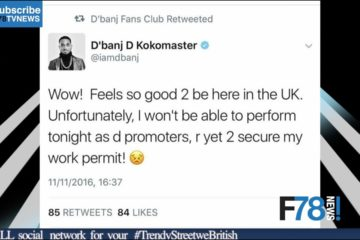 F78 NEWS: D'Banj UK tour Cancelled Due to Work Permit, Wizkid stripped of MTV's EMA + More
