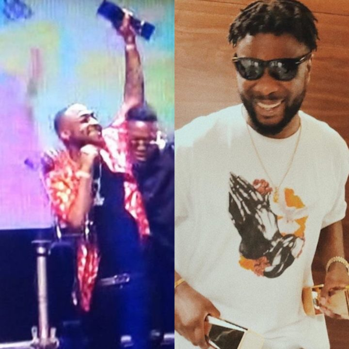 Davido and Maleek Berry With Their Awards at The Soundcity MVP Award Festival