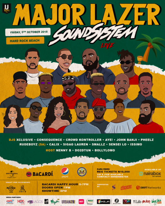 DJ Consequence, Xclusive,VSS, Crowd Kontroller And Others Set To Perform Alongside Major Lazer in Nigeria.