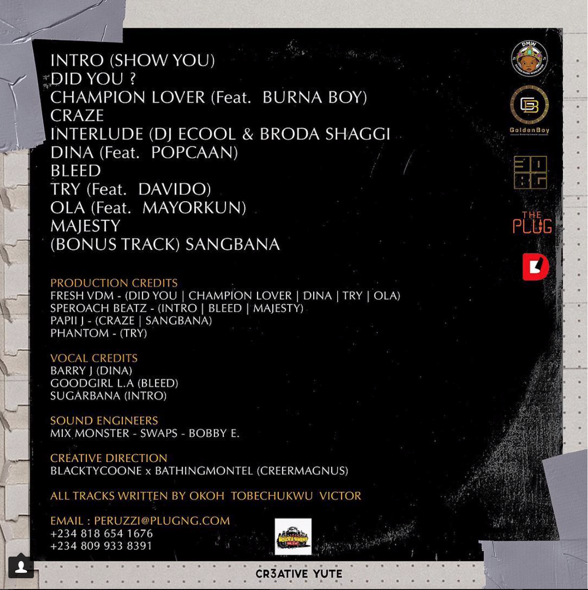 Peruzzi Shares Tracklist For His Debut EP