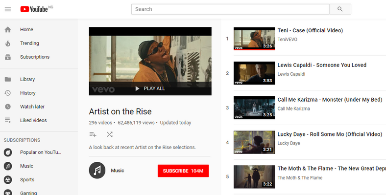 Teni Gets Featured As YouTube's 'Trending Artist On The Rise