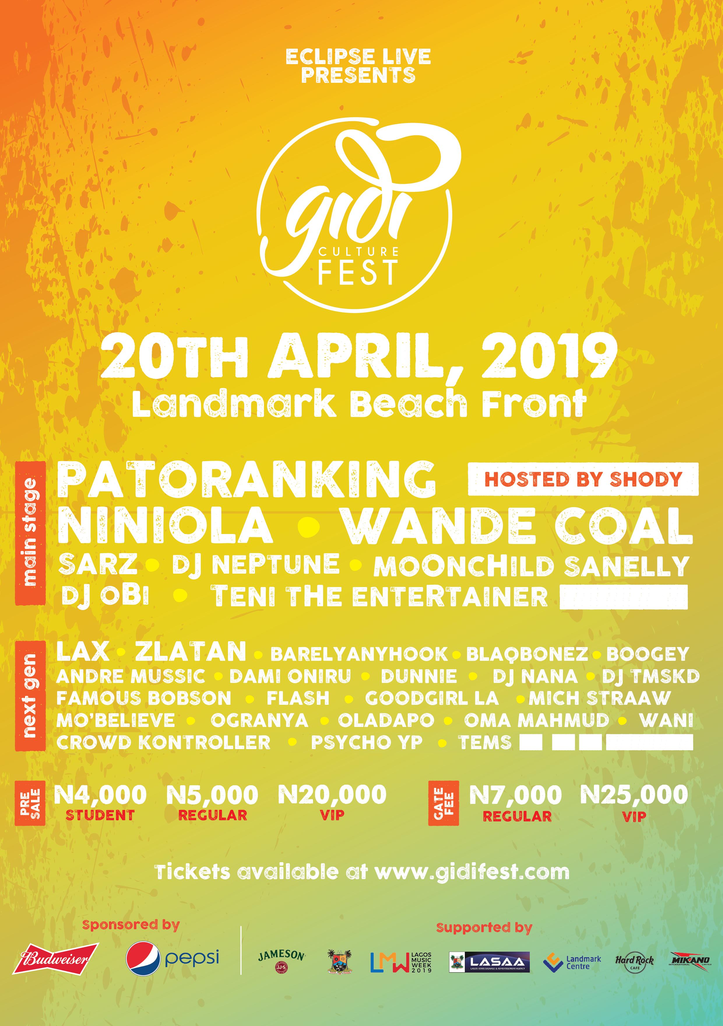 Gidi Culture Festival Announces Second Wave of Acts; Featuring Wande Coal, DJ Obi, Zlatan, L.A.X & Sarz