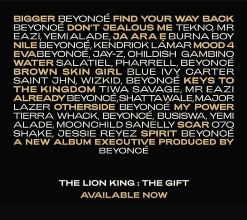 Beyonce - The Lion King: The Gift (Album) | Stream « NotJustOk