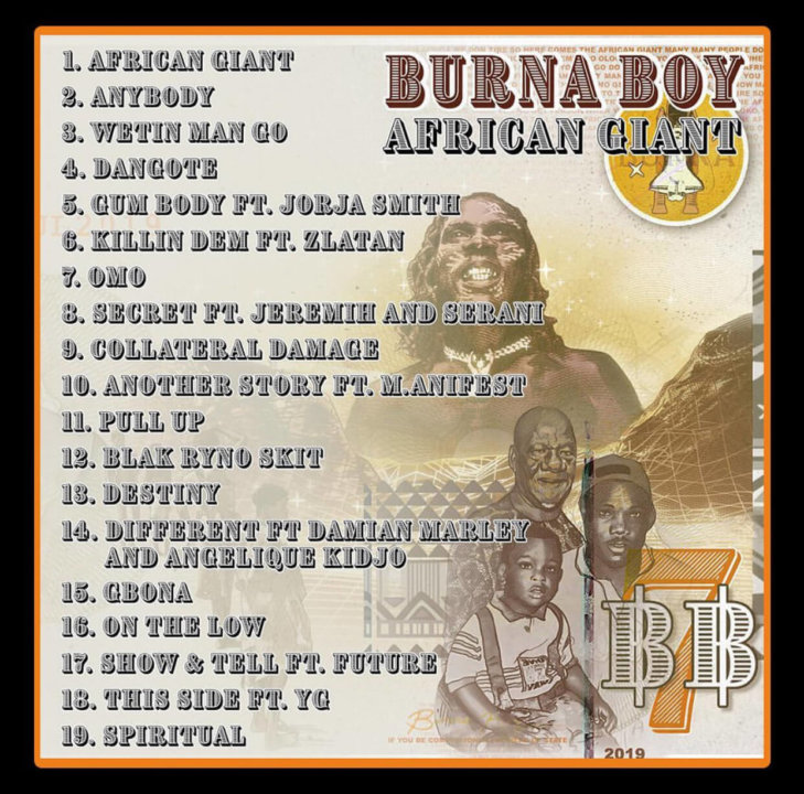 Burna Boy African Giant Album Tracklist
