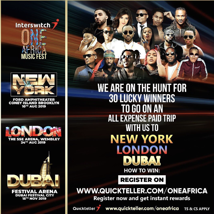 Interswitch One Africa Music Fest 2019 | Win Trip to NYC