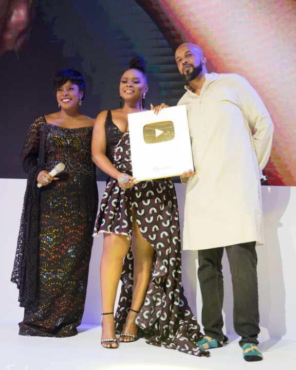 Yemi Alade Receiving The Golden Play Button