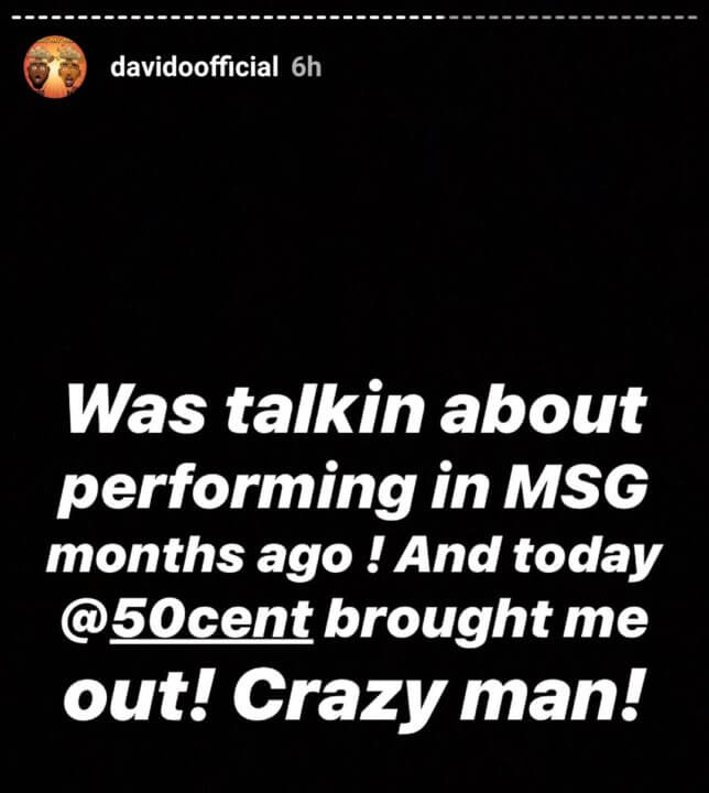Davido 50 cent Madison Square Garden
