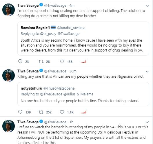 Tiwa Savage tweets about Cancels Upcoming Show In South Africa