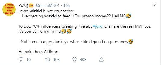 Wizkid Joro reactions