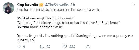 Wizkid's Joro reactions