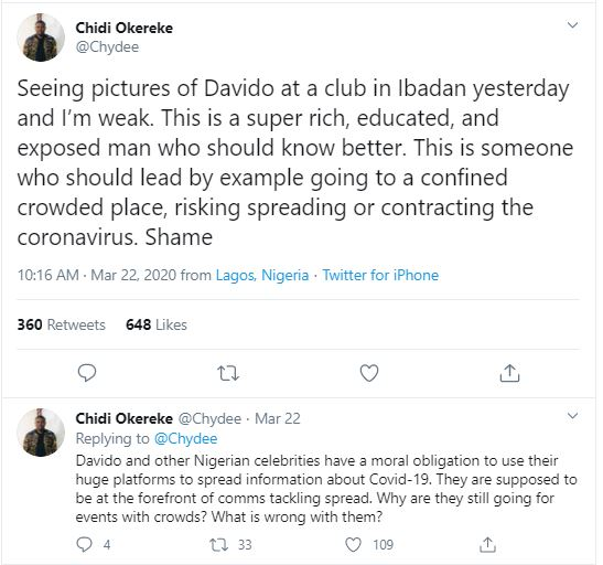 Chydee Slam Davido For Not Adhering To Social Distancing