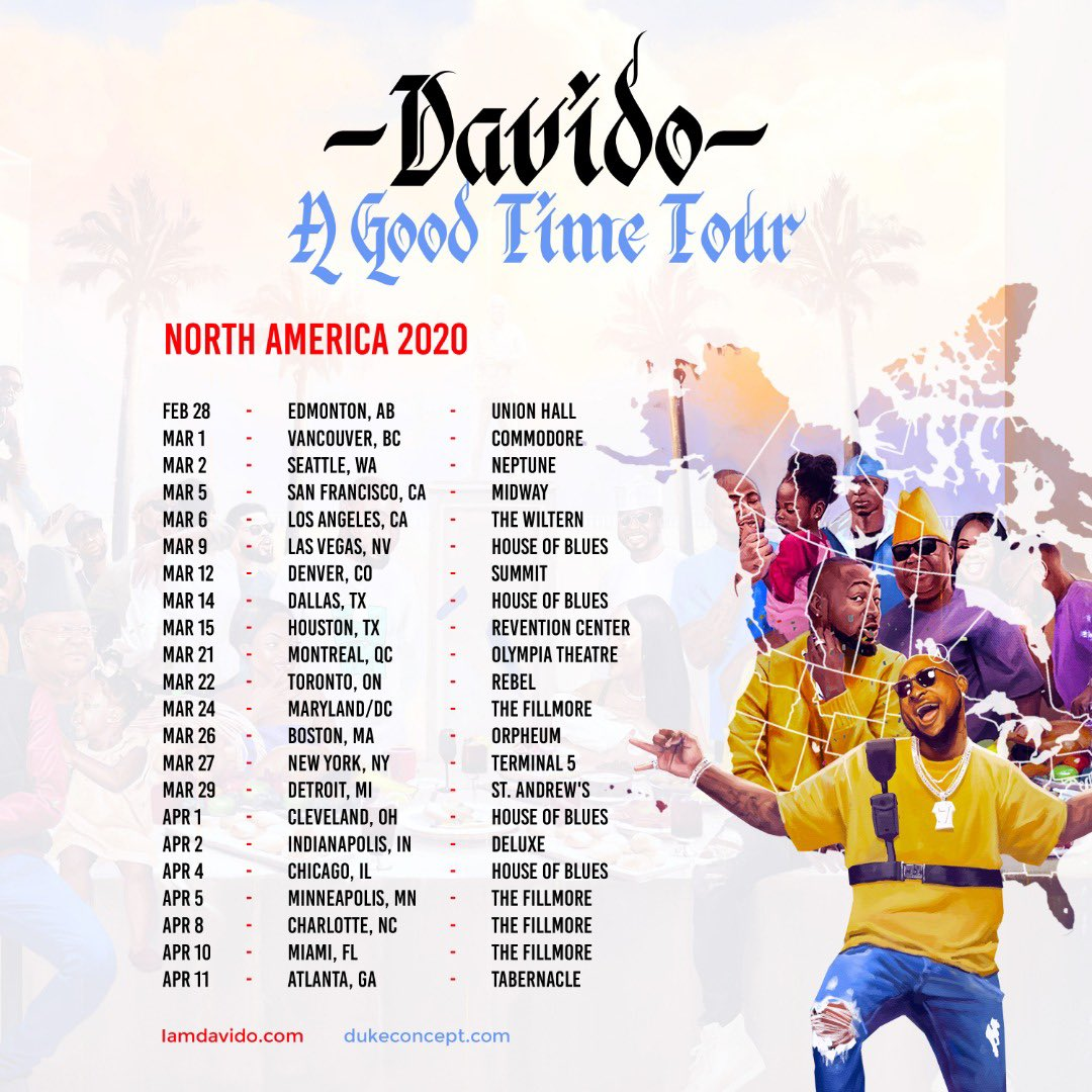 "Davido ""A Good Time"" US Tour Schedule"