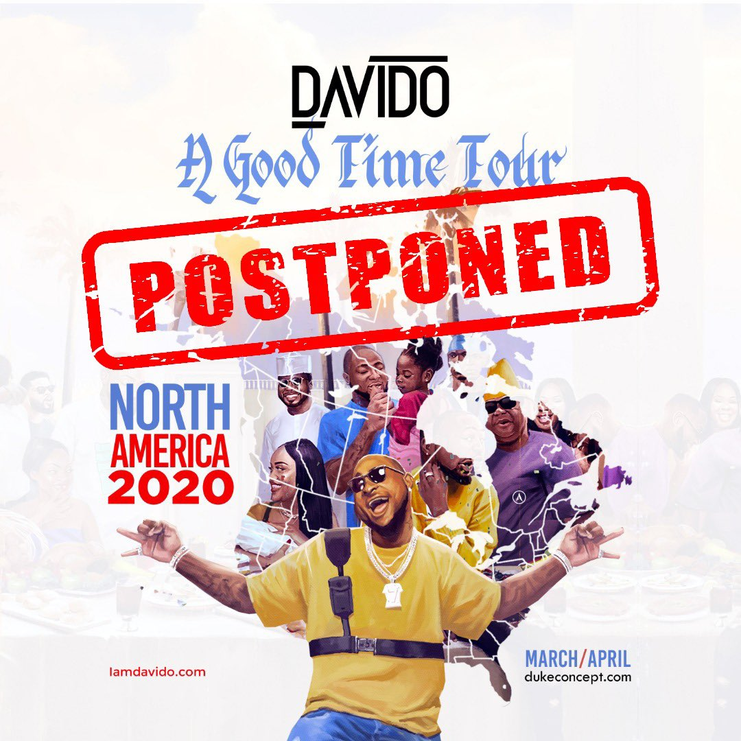 "#COVID-19: Davido Suspends ""A Good Time"" North America Tour Due To Coronavirus"