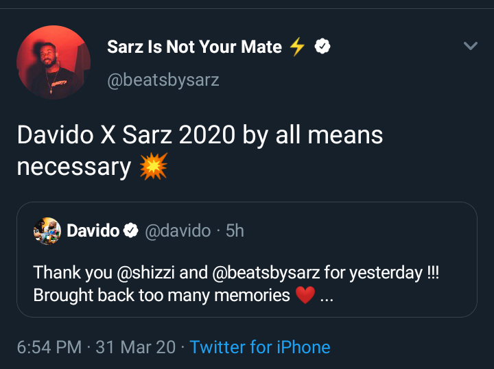 After Shizzi Battle Sarz Vows To Produce For Davido In 2020