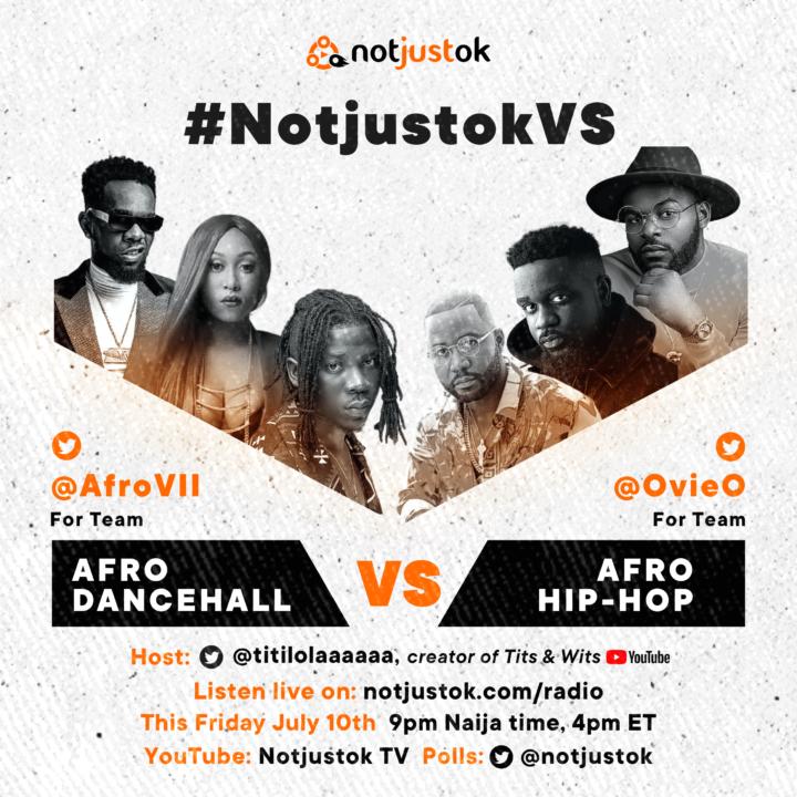 LIVE STREAM: Afro Dancehall VS Afro Hip-Hop | #NotjustokVS