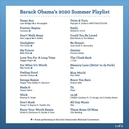 Barack Obama's Summer 2020 Playlist