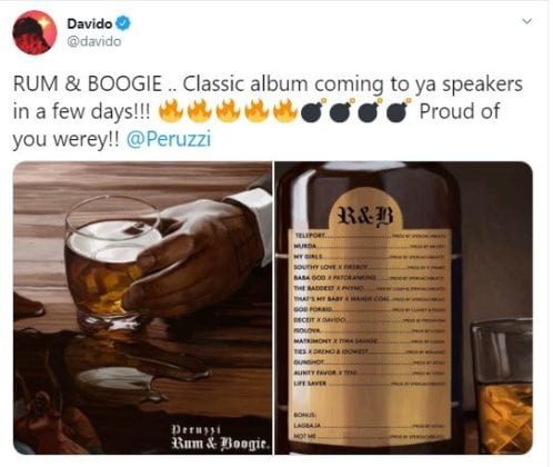 Davido's tweet