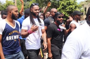 #SarsMustEndNow: Flavor, Kcee, Phyno, Zoro, others spotted in Enugu Protest