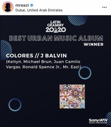 Mr Eazi Brings Home Latin Grammy Award From Collab With J Balvin