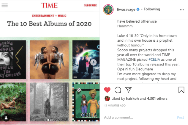 Tiwa Savage screenshot of Time Magazine selection