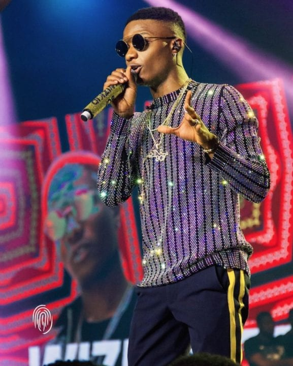 Wizkid performing in Lagos