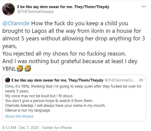 Temi Ovwasa Olamide tweets