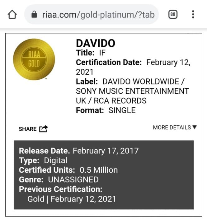 Image result for Davido's 'IF' sells 500,000 copies in the US, certified gold