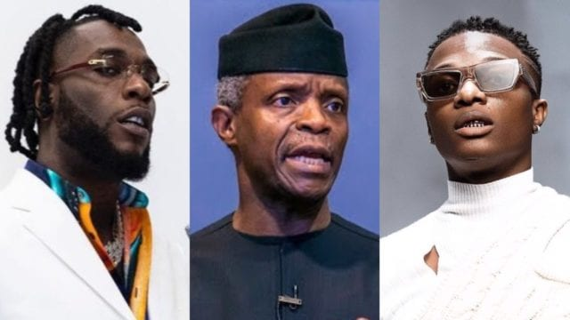 Osinbajo, Burna boy and Wizkid