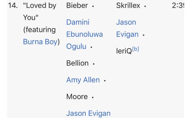 Justin Bieber ft Burna boy. Leriq on Justin Bieber album.