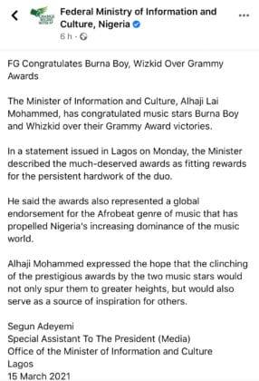 Nigerian Federal Government Congratulates Burna Boy and Wizkid on their 2021 Grammys
