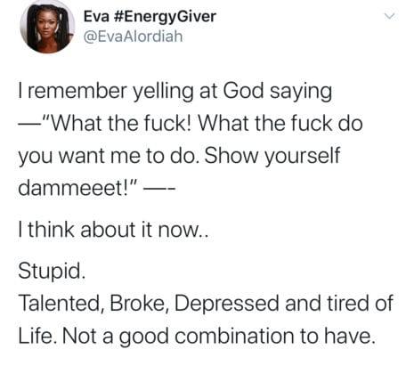 Eva Alordiah. Depression