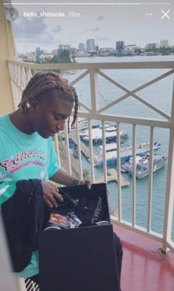 Bella Shmurda receives Made in Lagos gift pack from Wizkid.