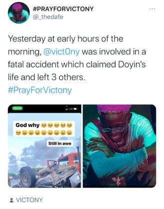 Victony Accident. Victony and Doyin