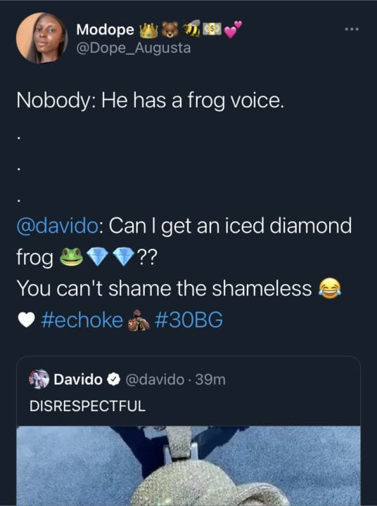 Davido frog necklace