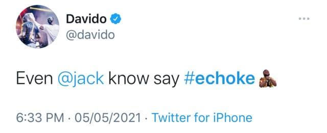Davido's E choke gets it twitter emoji