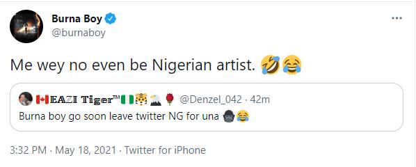Burna Boy Nigerian Artiste