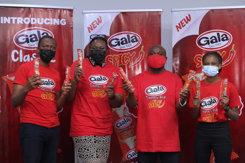 (L-R) Oluitan Mofiyin, Brand Manager, Snacks, UAC Plc; Adebola Williams, General Manager, Marketing, UAC Plc; Chris Towoju, General Manager, Sales, UAC Plc; and Ajoke Aunmonu, Brand Manager Beverage and Dairies, UAC Plc; during the launch of the new Gala variants - Gala Spicy and Gala Classic - in Lagos.