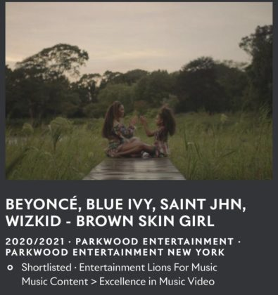 Wizkid and Beyonce's 'Brown Skin Girl' Video Wins Cannes Lions Award