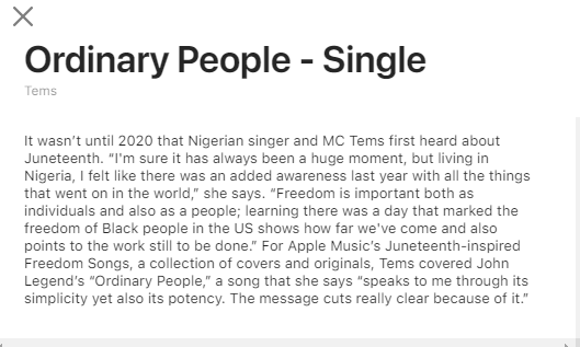 """Listen to Tems Cover John Legend's """"Ordinary People"""" for Apple Music"""