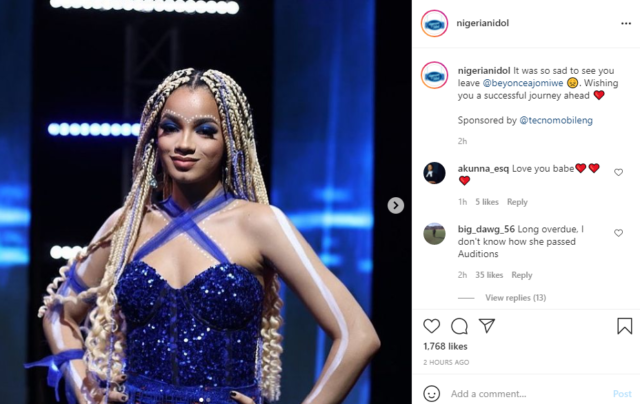 Nigerian Idol: Beyonce Exits The Competition at The Top 6 Stage