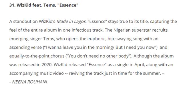 """Wizkid's """"Essence"""" Makes Billboard's 50 Best Songs of 2021 So Far"""